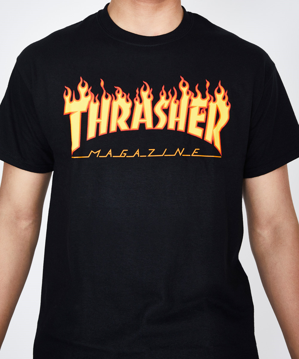 867152373036 Thrasher Flame Logo T-Shirt Black