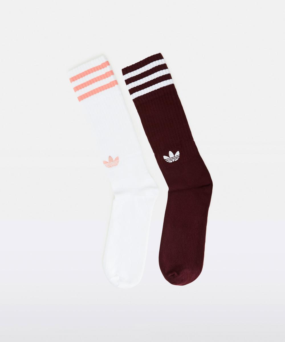 Image of Adidas - Solid Sock Crew Maroon White 2 Pack