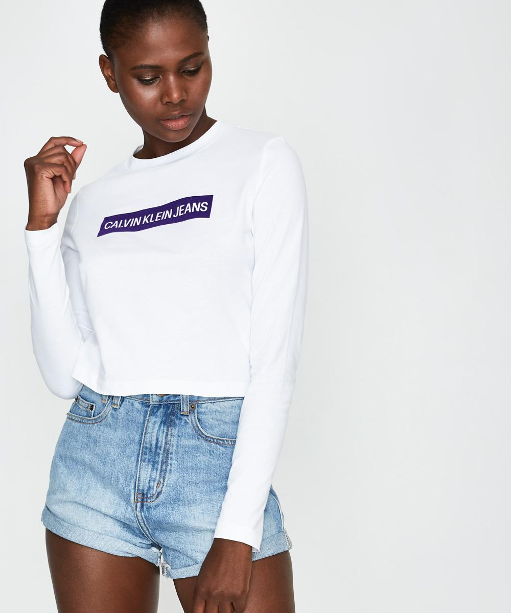 7679362d0b6dba Calvin Klein Institutional Box Cropped T-Shirt White | Long Sleeve T-Shirts  | T-Shirts | T-Shirts + Singlets | Clothing | Shop Womens | General Pants  Global