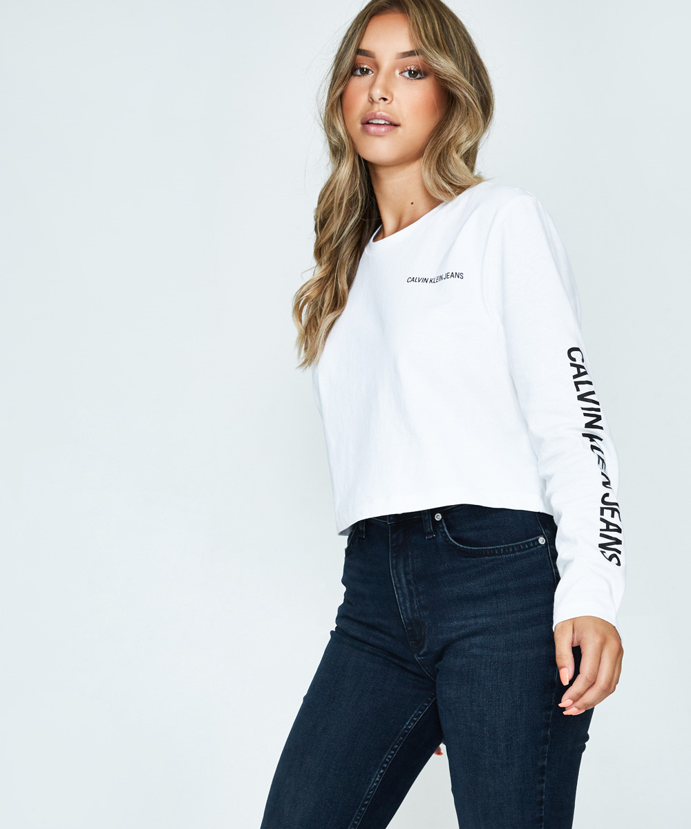 818280a0 Calvin Klein Institutional Box Cropped Fit White | Long Sleeve T ...