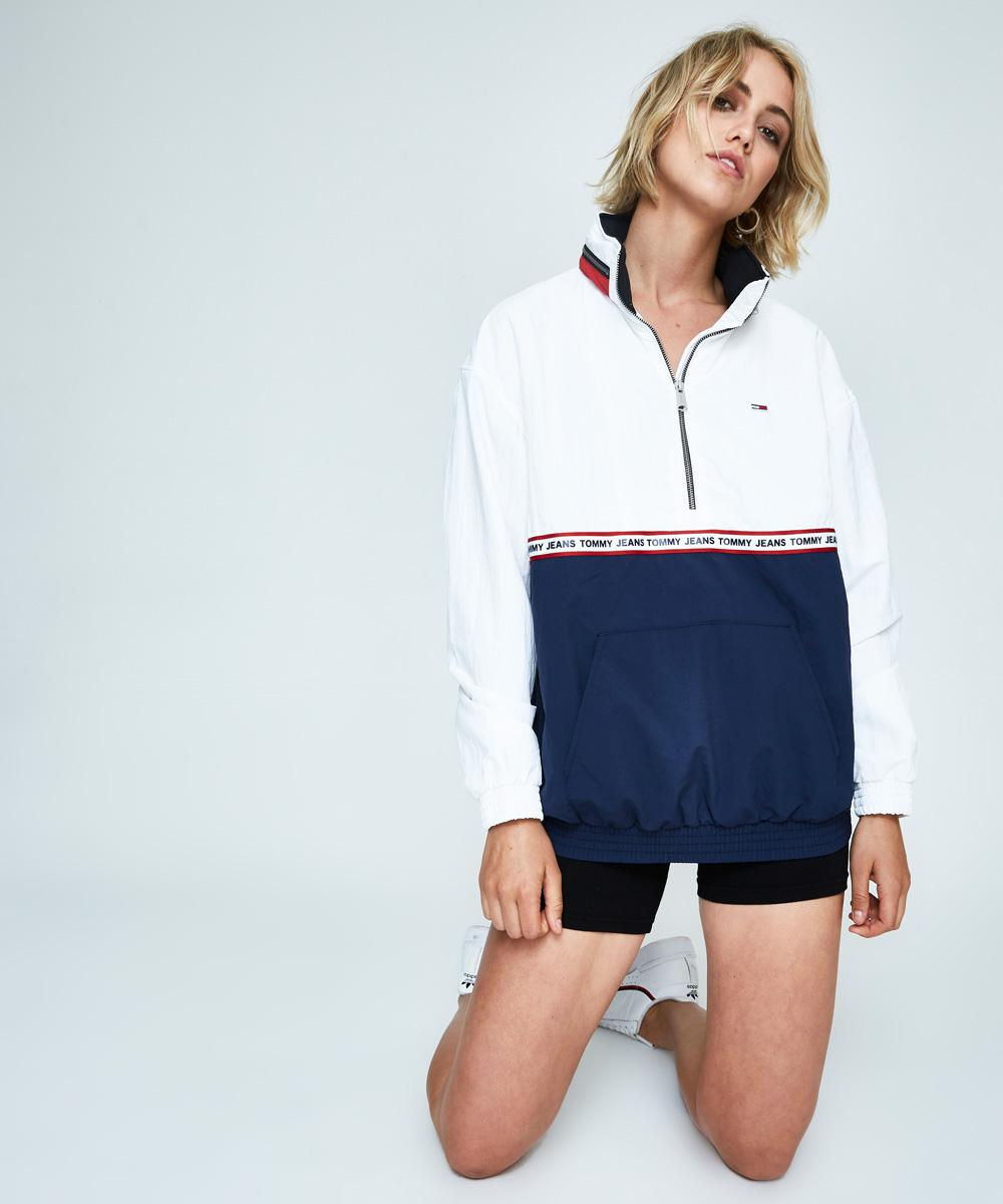 1f40b169d Tommy Jeans Tape Pop Over Jumper White/Navy | Fleece | Clothing | Shop  Womens | General Pants Co.
