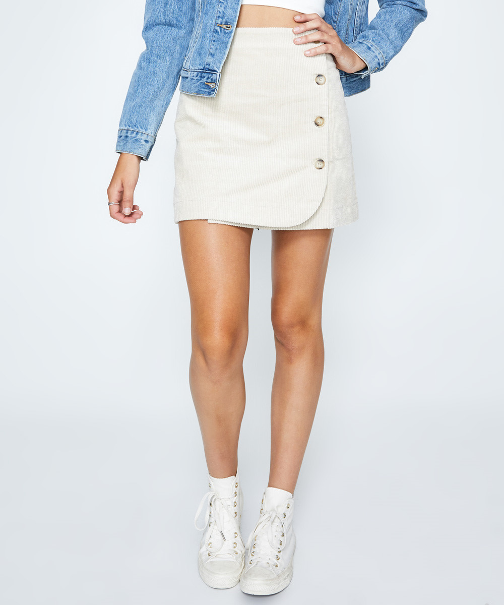 Court Cord Skirt Beige by General Pants Co