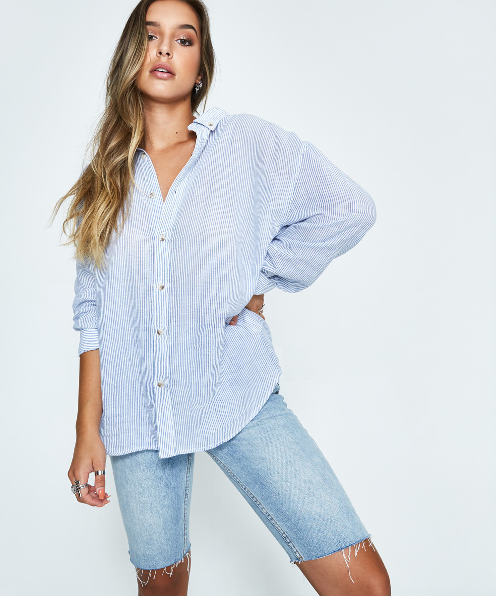 NEW Rolla/'s Rollas WOMENS SLOUCH STRIPE SHIRT BLUE WHITE